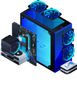 torre de ordenador con luz azul